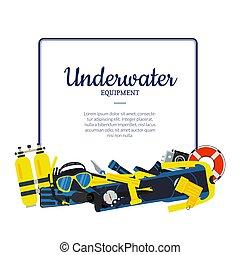 sous-marin, vecteur, éléments, plongée