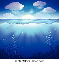 sous-marin, vecteur, ciel, fond