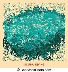 sous-marin, vieux, fond, texture, papier, mer