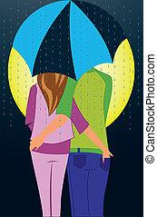 sous, parapluie, couple