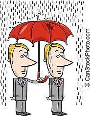 sous, parapluie, dessin animé, hommes affaires
