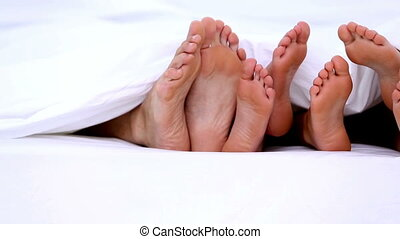 sous, pieds, jeter coup oeil, familys