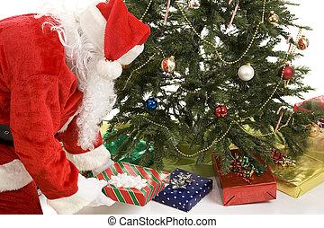 sous, santa, arbre, met, dons