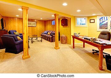 sous-sol, salle famille, à, bureau maison, espace