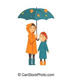 sous, stand, dessin animé, enfants, parapluie, vecteur,...