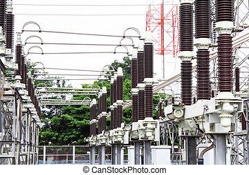 sous-station, élevé, pouvoir électrique, tension