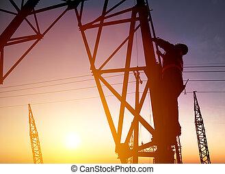 sous-station, coucher soleil, ouvrier, électrique, fond