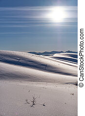 sous, talons, paysage, soleil, neige, bleu ciel, hiver