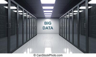 sous-titre, mur, grand, serveur, room., rendre, données, 3d