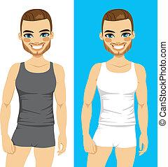sous-vêtements, beau, homme