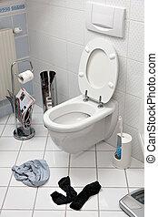 sous-vêtements, chaussettes, -, journalier, colère, wc