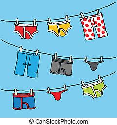 sous-vêtements, clothesline
