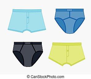 sous-vêtements, ensemble, coloré
