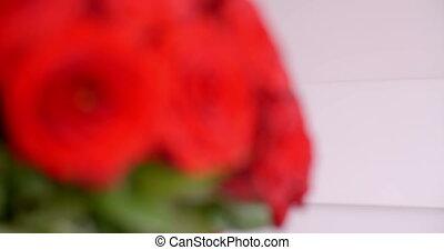 sous-vêtements, femme, bouquet, rose, sentir, sexy