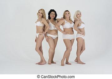 sous-vêtements, groupe, femmes