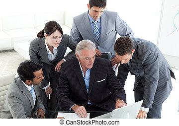 soustředěný, počítač, pracovní, business četa