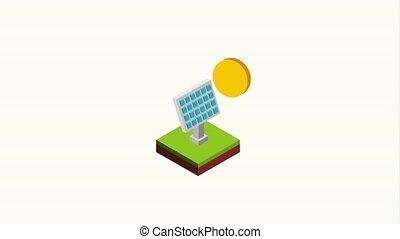 soutenable, énergie, isométrique, panneau solaire