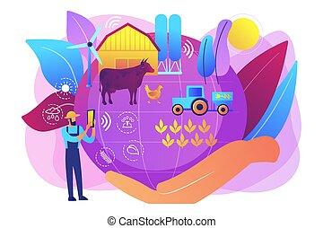 soutenable, concept, agriculture, illustration., vecteur