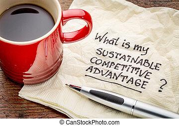 soutenable, concept, compétitif, avantage