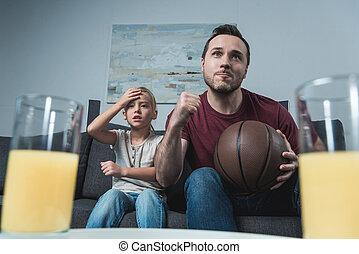 soutenir, équipe, basket-ball, fille, père
