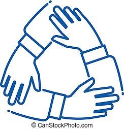 soutenir, alliance, business, fonctionnement, groupe, main., association, team., ensemble, chaque, unité, vecteur, collaboration, mains, ligne, autre, icône