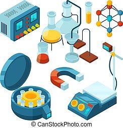 soutenir, biologie, isometric., drogues, science, essai, laboratoire, chimique, verre, microscope, vecteur, images, attributes, tubes, scientifique, 3d