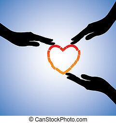 soutenir, concept, heart., coeur, illustration, portion, cassé, graphique, trauma, mains curatives, émotif, récupérer, douleur, spectacles