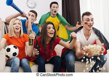 soutenir, différent, football, nations, équipe, amis