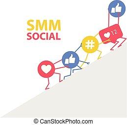 soutenir, icônes, commercialisation, hashtags, -, smm,...