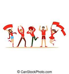 soutenir, sport, groupe, leur, illustration, équipement, cris, ventilateurs, vecteur, équipe, applaudissement, rouges