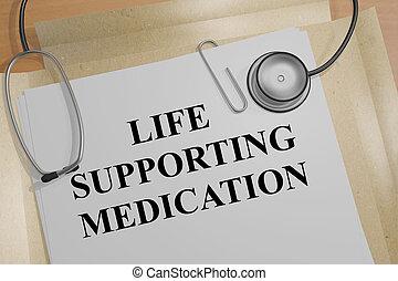 soutenir, vie, concept, médicament