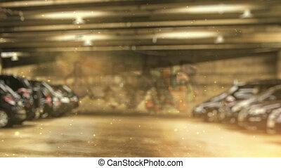 souterrain, équipe, danseurs, stationnement