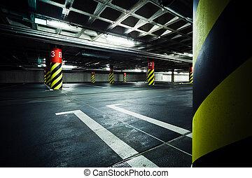 souterrain, garage, intérieur, stationnement
