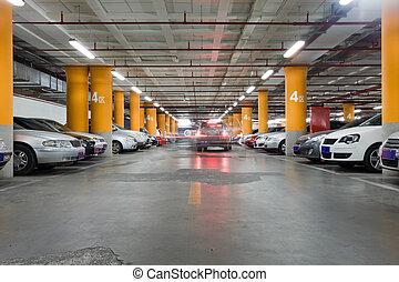 souterrain, interio, garage, stationnement
