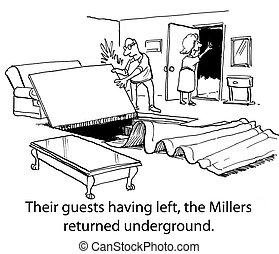 souterrain, meuniers, sûr, salle, avoir