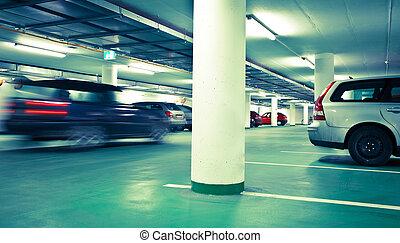 souterrain, modifié tonalité, parking/garage, (color, image)