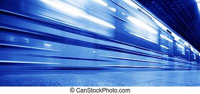 souterrain, mouvement, train, dynamique