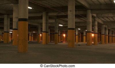 souterrain, piliers, zoom, stationnement
