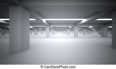 souterrain, repeatly, stationnement, en mouvement, -side