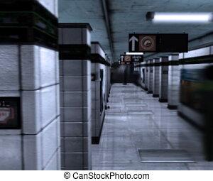 souterrain, tube., station., métro