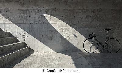 souterrain, vélo, endroit, abandonnés