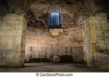 souterrain, vieux, salle