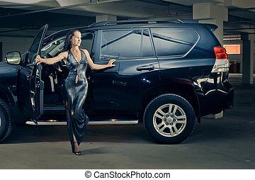 souterrain, voiture, girl, garage