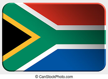 South Africa 3D button on white background