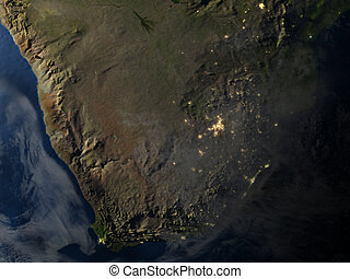 South Africa at night on planet Earth