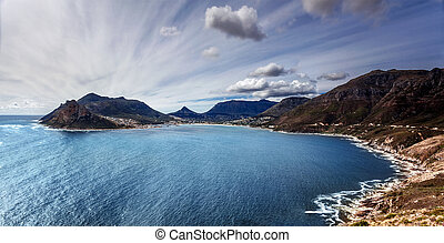 South Africa bay view, panoramic landscape of Capetown, aerial view on Atlantic sea, majestic scene of mountains, beauty of nature concept