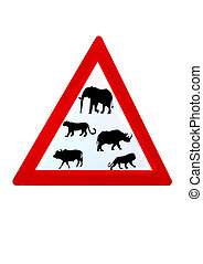 Wildlife big five from South Africa on road sign triangle, red on white background