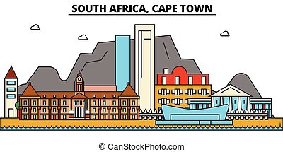 South Africa, Cape Town. City skyline architecture, buildings, streets, silhouette, landscape, panorama, landmarks. Editable strokes. Flat design line vector illustration concept. Isolated icons set