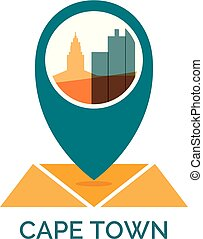 South Africa Cape Town map pin vector icon