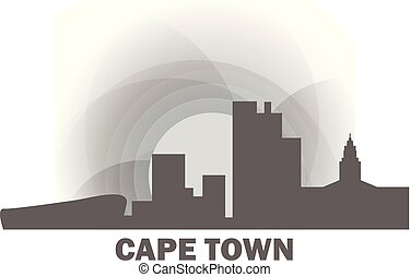 South Africa Cape Town skyline vector illustration